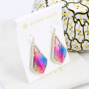 KS Alex Watercolor Silver tone border earrings